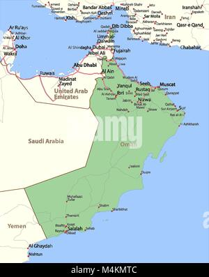 map of oman shows country borders place names and roads labels in english