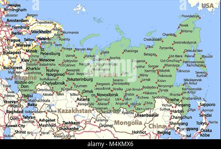 Map of Russia. Shows country borders,  place names and roads. Labels in English where possible. Projection: Lambert - Stock Photo