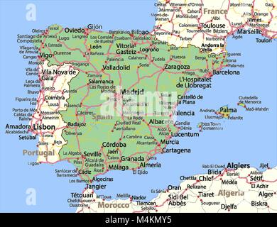 Map of Spain. Shows country borders, urban areas, place names and roads. Labels in English where possible. Projection: - Stock Photo