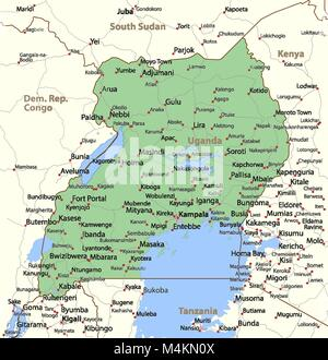 Map of uganda vector illustration stock vector art map of uganda shows country borders urban areas place names and roads gumiabroncs Images