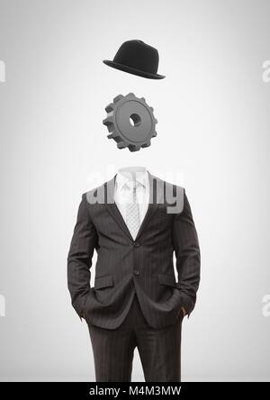 Headless man with surreal floating hat and cog gear - Stock Photo