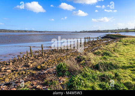 The Exe Estuary from the Turf Hotel, Devon - Stock Photo
