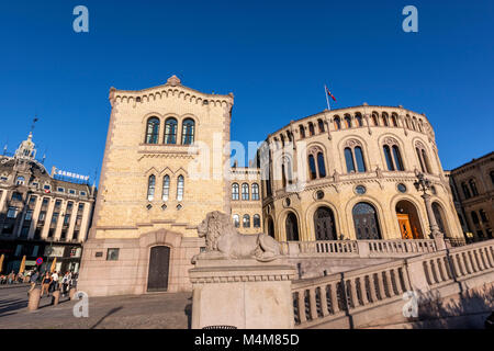 Storting building, Parliament of Norway, Oslo, Norway - Stock Photo