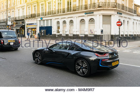 BMW i8 on London street luxury expensive coupe car - Stock Photo