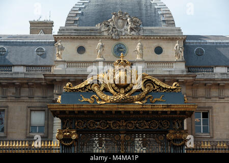 Gate with golden decoration, Entrance to the Palais de Justice in Paris, France - Stock Photo