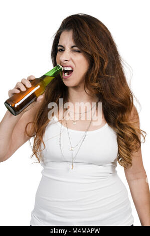 Woman opening a beer - Stock Photo