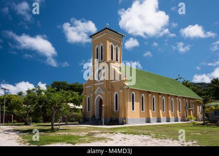 Community Church, La Digue, Seychelles - Stock Photo