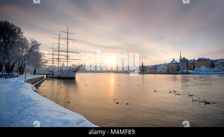 Stockholm, Sweden in Winter - Stock Photo