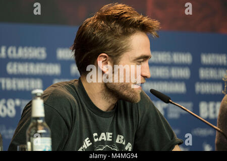 Berlin, Germany. 16th Feb, 2018. Robert Pattinson attends the 'Damsel' press conference during the 68th Berlinale - Stock Photo
