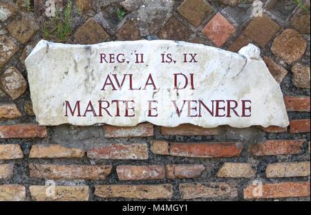OSTIA ANTICA RUINS: AULA DI MARTE E VENERE PLATE. - Stock Photo