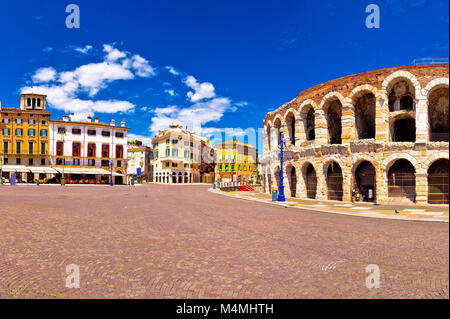 Roman amphitheatre Arena di Verona and Piazza Bra square panoramic view, landmark in Veneto region of Italy - Stock Photo