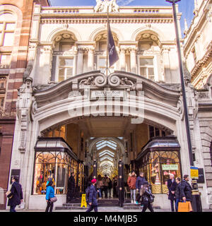 Burlington Arcade, a covered shopping arcade on Piccadilly in Mayfair, London, England. - Stock Photo