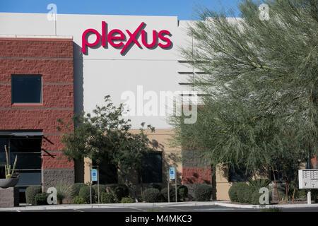 A logo sign outside of the headquarters of Plexus Worldwide in Scottsdale, Arizona, on February 4, 2018. - Stock Photo