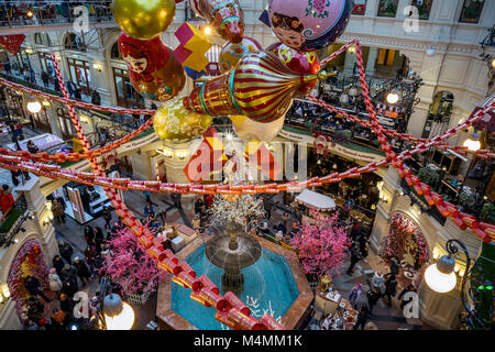 Festive decoration of GUM by Chinese artist Jacky Tsai on the main alley in GUM during the celebration of the Chinese - Stock Photo