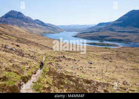 The footpath near the Loch Lurgainn . ( View from Stac Pollaidh  towards loch lurgainn), Inverpolly, Northwest Highlands, - Stock Photo