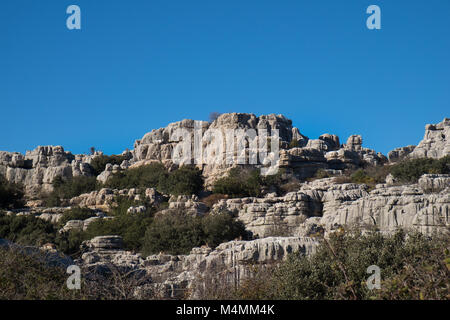 El Torcal de Antequera, Andalucia, Spain. Rock formations and nature reserve - Stock Photo