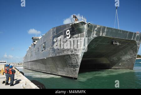 180213-N-SX614-016  KEY WEST, Florida (Feb. 13, 2018) The USNS City of Bismarck moors at Naval Air Station Key West's - Stock Photo