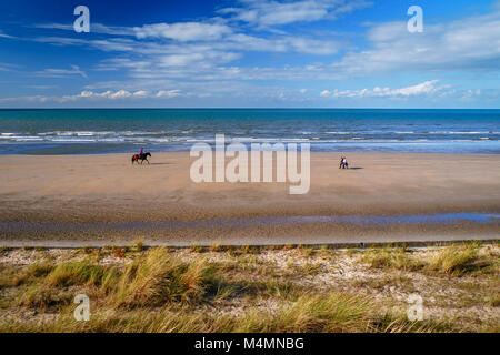 Lonely horseman and walking couple enjoying almost empty beach - Stock Photo