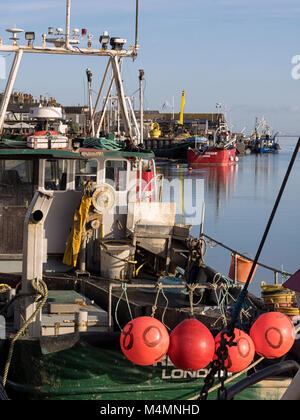 LEIGH-ON-SEA, ESSEX, UK:  Fishing Trawlers at Old Leigh - Stock Photo