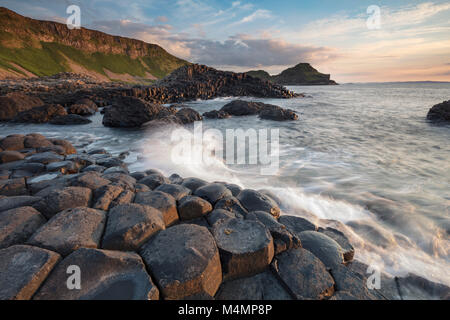 Evening at the Giant's Causeway, Country Antrim, Northern Ireland. - Stock Photo