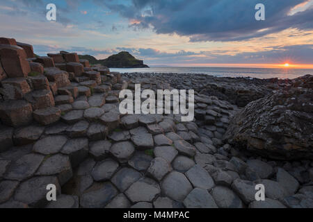 Sunset at the Giant's Causeway, Country Antrim, Northern Ireland. - Stock Photo