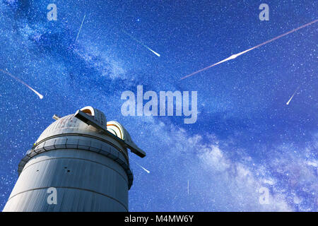 Perseid Meteor Shower in 2017. Falling stars. Milky Way observatory - Stock Photo