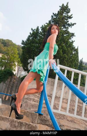 Young woman legs heels images alpfabet spike spiked slim thin fit slender slenderfit - Stock Photo