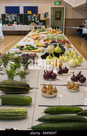 Wide variety of fresh fruit & veg entries displayed on tables, in competition at Gardeners' Show - Burley-in-Wharfedale, - Stock Photo