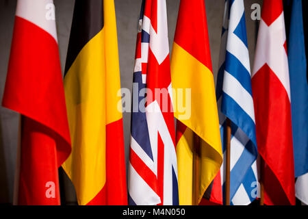 EU countries flags - Great Britain (United Kingdom), Germany, Belgium, Greece. - Stock Photo