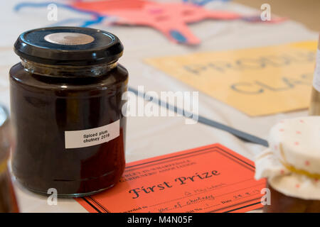 Close-up of 1st prize winning jar of chutney & certificate - competition entry at Gardeners' Show, Burley-in-Wharfedale, - Stock Photo