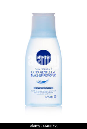 LONDON, UK - FEBRUARY 14, 2018: Plastic container of NIVEA make up remover on white background. - Stock Photo