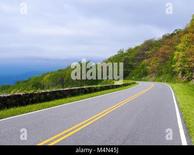 A beautiful road in the Shenandoah National Park, Virginia, USA - Stock Photo