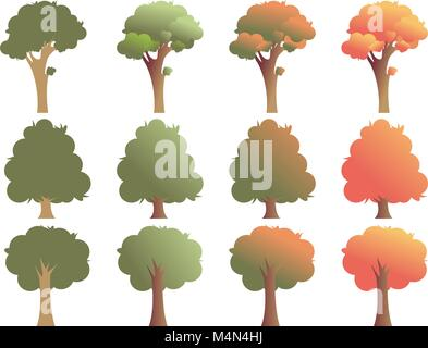 Set of trees in various shapes, isolated on white background. Vector illustration, EPS 10. - Stock Photo