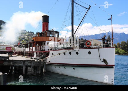 Vintage twin screw steamer TSS Earnslaw at the quayside in Queenstown on Lake Wakatipu, Otago, South Island, New - Stock Photo
