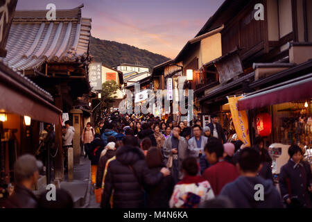 Crowded with people, Matsubara dori street full of souvenir shops and restaurants, near Kiyomizu-dera temple during - Stock Photo