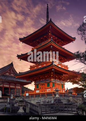 Sanjunoto pagoda, Kiyomizu-dera Buddhist temple in Kyoto. Traditional Japanese architecture. Beautiful dramatic - Stock Photo