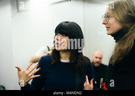 London, UK. 17th Feb, 2018.  London Fashion Week, February 2018. Alice Archer show Backstage – models and hair & - Stock Photo