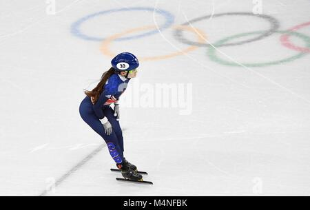 Pyeongchang, South Korea. 7th Feb, 2018. Kathryn Thompson (GBR) crosses the line. Short track. Gangneung ice arena. - Stock Photo