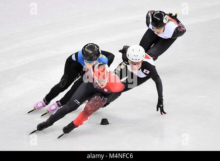 Pyeongchang, South Korea. 7th Feb, 2018. Kim Boutin (CAN) leads. Short track. Gangneung ice arena. Pyeongchang2018 - Stock Photo