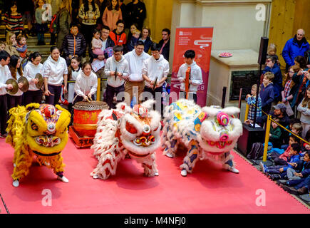 Bristol, UK. 17th Feb, 2018. A team from Bristol University celebrate Chinese New Year. The year of the Dog is welcomed - Stock Photo