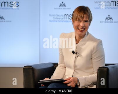 Munich, Germany. 15th Feb, 2018. MUNICH, GERMANY - FEBRUARY 15, 2018: Estonia's President Kersti Kaljulaid attends - Stock Photo