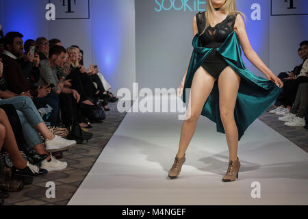 London, UK. 17th Feb, 2018. Gillian McKeith and daughter Afton rock the runway for designer Olya Sookie at Fashions - Stock Photo