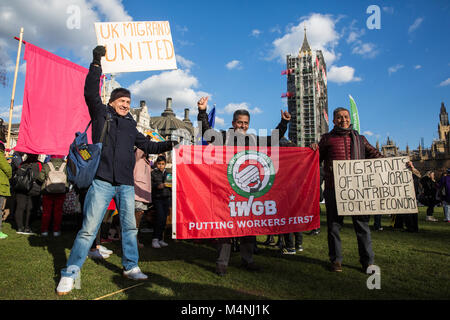 London, UK. 17th February, 2018. Members of the IWGB trade union attend the 1 Day Without Us rally in Parliament - Stock Photo
