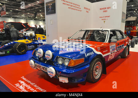 London, UK. 17th Feb, 2018. A 1983 Rover SD1 rally car on display at the London Classic Car Show which is taking - Stock Photo