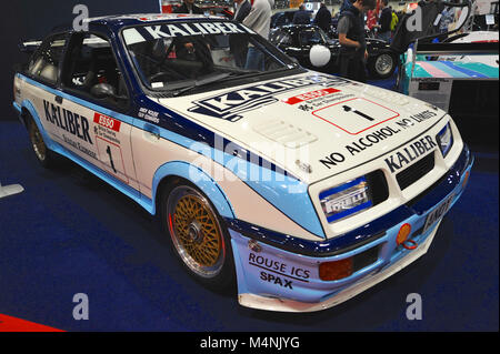 London, UK. 17th Feb, 2018. A 1989 Ford Sierra RS500 Cosworth racing car on display at the London Classic Car Show - Stock Photo