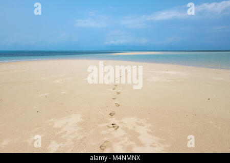 Desert island in Mozambique with turquoise sea - Stock Photo