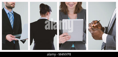 Composite image of midsection of businessman holding laptop - Stock Photo