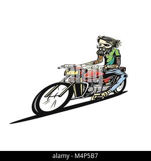 A man riding motorcycle on the road vector illustration. - Stock Photo
