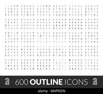 Large icons set, 600 outline black vector pictogram - Stock Photo