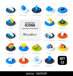 Color icons set in flat isometric illustration style, vector collection - Stock Photo